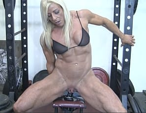 Ever since we received Lacey's self-shot audition videos we're wanted to shoot her in our gym, and here she is in all of her glory. Lacey is that rare combination of hugely muscular and hugely naughty. Watching Lacey fuck her favorite dildo is wonderful sight to behold. She is so vascular, so ripped, so naughty! We love her, and so do you.