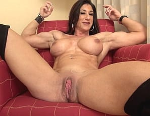 Female Bodybuilder Hot Italian masturbates her wet pussy and big clit while you watch in close-up. Get a good look at her Vascular Biceps, Ripped Abs, powerful Pecs and muscular Legs as she Poses for you. Thanks for coming with me today, she says.