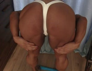 Female bodybuilder MuscleFoxx, ripped for a competition, poses nude to show off the big muscles of her legs, glutes, pecs, abs and her vascular biceps, Enjoy her muscle control, and the Close-Up as she plays with her  pussy and big clit.