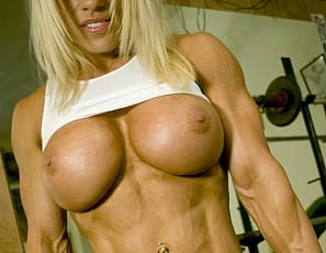 Blonde, beautiful, ripped and sexy, bodybuilder Melissa Dettwiller is one of our favorite muscular models – and yours. Here, she's taking it all off and posing in the gym to show off her spectacular pecs, biceps, legs and abs, her vascularity and her gorgeous pierced big clit.