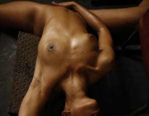 Melanie is so ultra-flexible that she can literally bend over backwards to give you a close-up look at her pretty pussy as she masturbates and poses. You'll enjoy her long legs, strong biceps, lean physique and smooth ebony skin too.