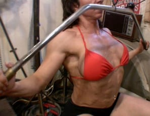 "In the gym, bodybuilder Alexis works her back so it's big and hard, shows you how big and hard her pecs, legs, glutes and biceps are, then masturbates her already big and hard clit until it's even bigger and harder. ""Don't you want to worship this clit?"" she asks, as you see it so close up that you don't have a choice."