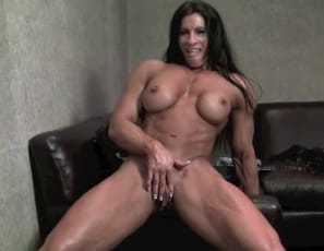 Female bodybuilder Angela Salvagno  is vascular and  ripped all over, as you can  see when you look at the big muscles of her massive biceps, pecs, legs and  glutes as she poses nude to show off and masturbates her big clit and wet pussy. It's so big! she groans as she makes herself cum. Watch in close-up as her abs ripple and her clit throbs.